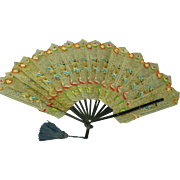 Gorgeous c1900's hand painted papyrus Ladies Fan & wood handles