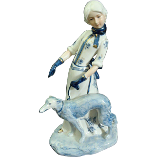 "KPM porcelain Elegant Lady w/Grey Hound figurine 9"" tall"