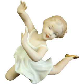 Wallendorf Art Deco Ballerina Dancing Girl Porcelain Figurine Germany 1930 Rare