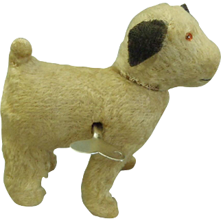 c1920's Wind up Mohair German Toy Walking Dog