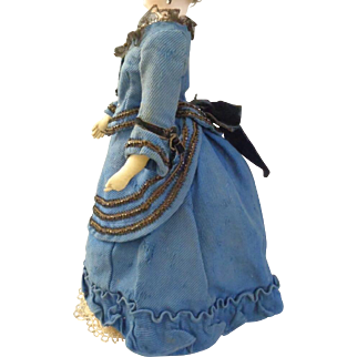 "1890's French fashion doll bustle promenade suit for about 18"" tall doll"