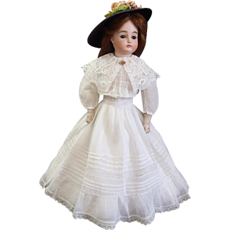 "Outstanding Antique swivel head on bisque shoulder-plate 15.5"" Pouting Closed Mouth Kestner Fashion Doll"