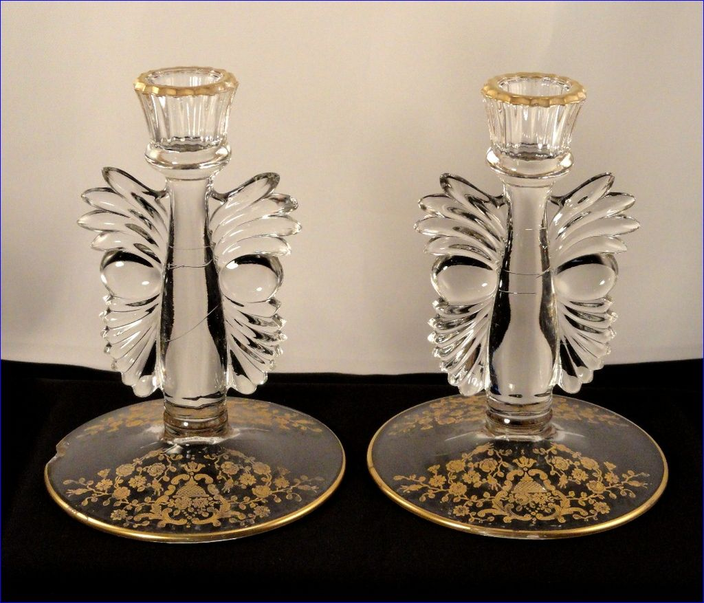 Vintage Glastonbury Lotus Rose Bud Pattern #300 Gold Etched Glass Art Deco Candlestick