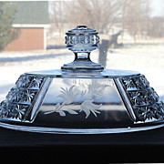 Antique Victorian EAPG Crystal Richards & Hartley Two Panel Etched Oval Lid for Compote or Bowl
