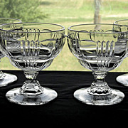 Set 4 Vintage 1930's Fostoria Glass Ribbed Sunray No. 2510 Line Crystal Soda Fountain Sherbet Sundae Cups Dishes