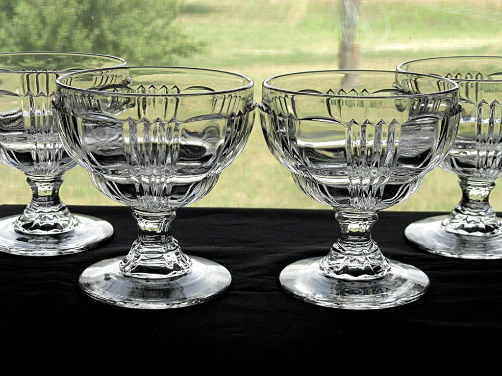 Set 4 Vintage 1930's Fostoria Glass Ribbed Sunray No. 2510 Line Crystal Soda Fountain Sherbet Sundae Cups Dishes