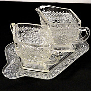 Vintage Indiana Sandwich Glass Pattern #170 Crystal Creamer and Sugar on Tray