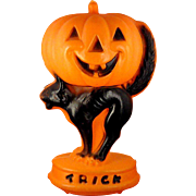 Vintage Lighted Plastic Halloween Blow Mold Decoration ~ Trick or Treat Jack-O-Lantern Pumpkin on Black Cat