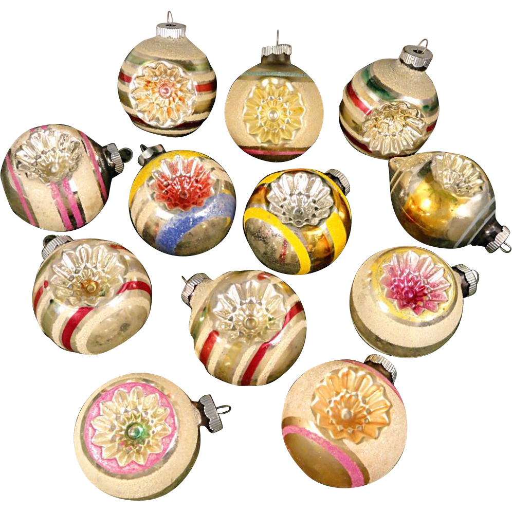 Large ornaments - Beautiful Box 12 Large Shiny Brite Mica Snow Covered Indents Glass Christmas Ornaments Indents Reflectors