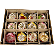 Fantastic Vintage Box 12 Large Shiny Brite Mica Snow Covered Indents Glass Christmas Ornaments Indents Reflectors
