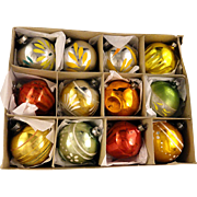 Box 12 Vintage Shiny Brite USA Art Deco HandPainted Fluted Glass Christmas Ornaments