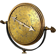 Vintage Standing Brass Zodiac Astronomical Astrological Perpetual Calendar Clock