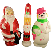 3 Vintage Christmas Empire Blow Mold Plastic Lighted Decorations Santa Snowman Candle