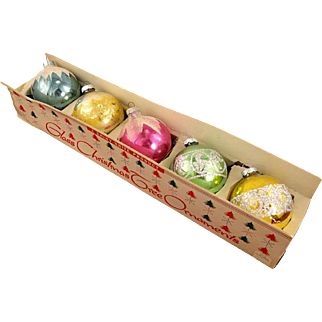 Shiny Brite 5 Vintage Glass Mica & Glitter Decorated Ball Christmas Ornaments in Carton