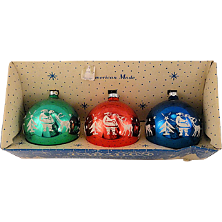 Vintage 1965 Trio Jumbo Paragon USA Glass Flocked Ball Christmas Ornaments Santa With Reindeer Stencil in Carton