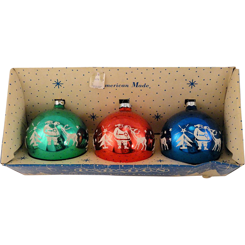 vintage 1965 trio jumbo paragon usa glass flocked ball christmas