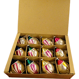 Box 12 Vintage 1940's Occupied Japan Glass Hand Painted Teardrop Japanese Lantern Christmas Ornaments