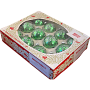 Vintage Boxed Set 12 Green With Stencil Decorated Glass Balls Shiny Brite Poloron Christmas Ornaments