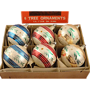 Set 6 Vintage Poland Hand Painted Flower & Squiggles Decorated Glass Ball Christmas Ornaments