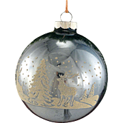 LARGE Jumbo Shiny Brite Powder Blue Winter Wonderland With DEER Glass Mica Stencil Scene Christmas Tree Ornament