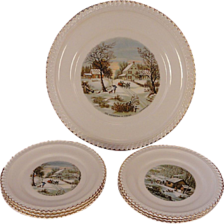 7 Pc. Set Vintage Harkerware U.S.A. Currier & Ives Homestead Cake Serving Set With Dessert Plates