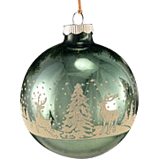 LARGE Jumbo Shiny Brite Green Winter Wonderland With DEER Glass Mica Stencil Scene Christmas Tree Ornament