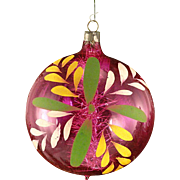 Exceptional Unsilvered Jumbo War Era Hot PINK Hand Painted Blown Glass Christmas Ornament With Tinsel Inside