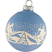 Rare Shiny Brite Opaque BLUE Unsilvered Snowmen on Skis Scene Christmas Ornament Vintage War Era Ball