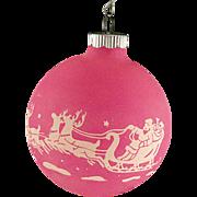 Rare Shiny Brite Opaque Unsilvered Pink SANTA & REINDEER Scene Christmas Ornament Vintage War Era Ball