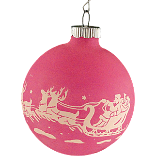 Rare Shiny Brite Opaque Unsilvered Pink SANTA & REINDEER Scene Christmas Ornament Vintage War Era Ball