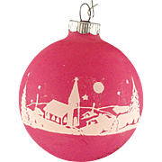 Rare Shiny Brite Opaque Raspberry Unsilvered Countryside Church Scene Christmas Ornament Vintage War Era Ball