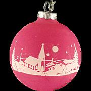 Rare Shiny Brite Opaque Raspberry Unsilvered Countryside Church Scene Christmas Ornament Vintage War Era Ball