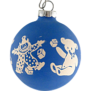 Rare Shiny Brite Opaque BLUE Unsilvered Toy Parade Scene Christmas Ornament Vintage War Era Ball