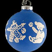 Rare Shiny Brite Opaque BLUE Unsilvered Toy Parade Scene Christmas Ornament Vintage War Era Ball