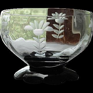Set 3 Vintage 1930's Etched Depression Glass Black Lily Pad Footed Sherbets Dessert Cups Bowls