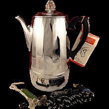 Beautiful Unused Vintage 1950 Continental Auto Perk 12 Cup Automatic Electric Coffee Pot Percolator