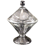 Vintage 1920's ART DECO Aster Etch Depression Glass Cone Shape Candy Jar