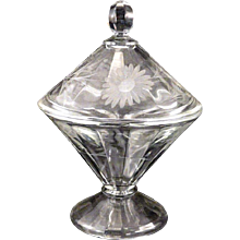 Vintage 1920's ART DECO Aster Etch Depression Glass Cone Shape Candy Jar
