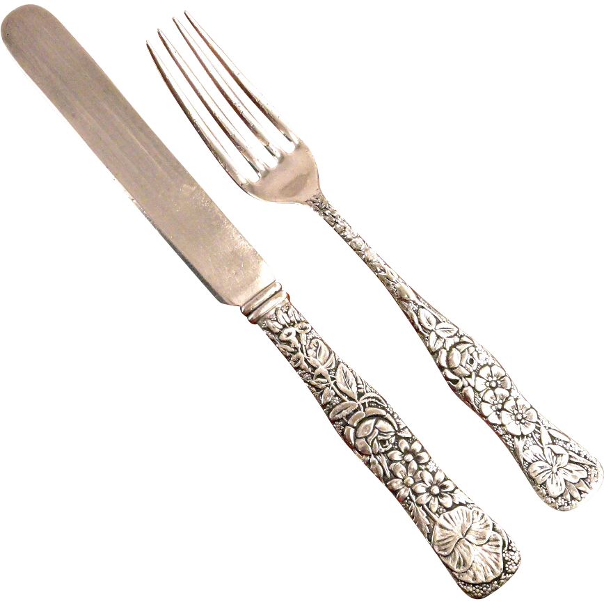 2 Piece Youth Child's Set Antique Aesthetic 1887 Hiawatha Repousse Floral Silver Plate Flatware Silverware by Aurora