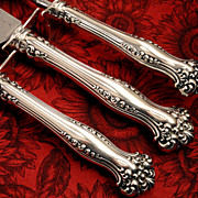 Rare 3 Pc. Antique Victorian 1901 AVON Large Roast Carving Set Art Nouveau Silver Plate by 1847 Rogers