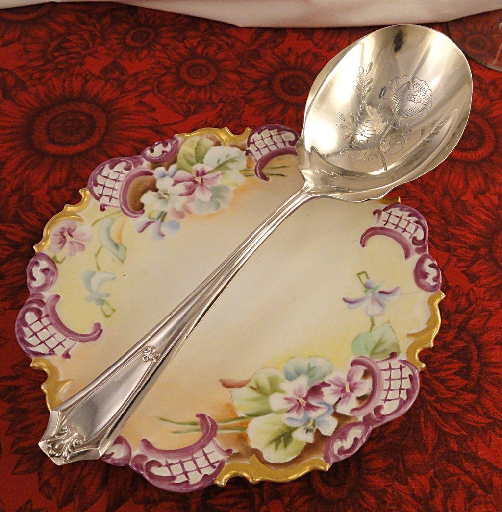 Antique Arts & Crafts 1911 Fairmount aka Carrollton Berry Casserole Spoon Eagle Wm. Rogers Silver Plate Flatware Silverware