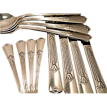 Vintage 1932 ART DECO Wm. Rogers GUILD aka CADENCE Silver Plate Flatware Dinner Service for 4, 8 or 12
