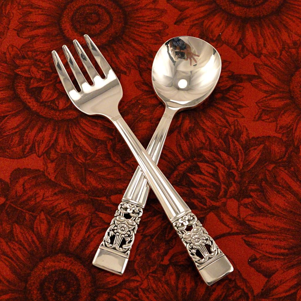 Baby Toddler Fork Spoon Set Oneida Community Plate