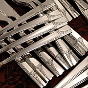 Oneida Nobility Plate CAPRICE ART DECO Vintage 36 Pc. 1937 Silver Plate Flatware Silverware Set Grille Viande Dinner Service for 6