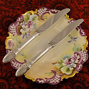 Pair Child's First Youth Knives Twins 1847 Rogers Bros FIRST LOVE Vintage 1937 Art Deco Silver Plate Flatware Silverware by International