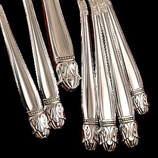 Holmes & Edwards Danish Princess Art Deco Dinner Place Settings Vintage 1938 Silver Plate Silverware Flatware