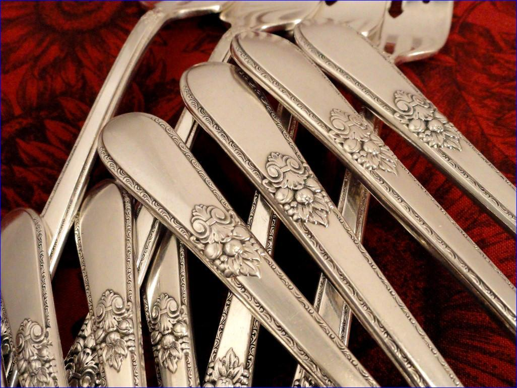 1847 Rogers ADORATION Vintage 1939 ART DECO Silver Plate Silverware Set You Choose Dinner Service for 4, 8 or 12
