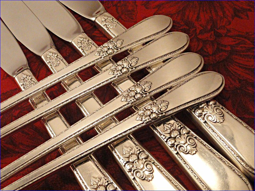 ADORATION Vintage 1939 ART DECO Silver Plate Long Handled Grille Silverware Set You Choose Dinner Service for 4, 8 or 12 by 1847 Rogers