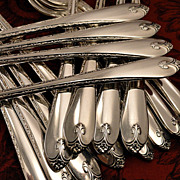 Rogers EXQUISITE Vintage 1940 ART DECO Silver Plate Flatware Silverware Set You Choose Long Handled Grille Dinner Service for 4, 8 or 12