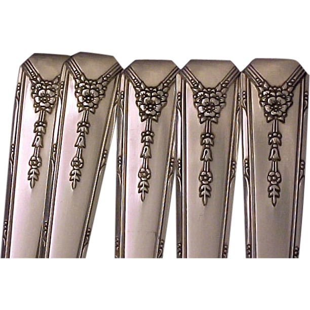 Oneida Community MILADY Grille Place Settings 1940 Vintage Art Deco Silverplate Flatware